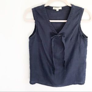Anthro Comme Toi... Navy Blue Linen Tie Front Tank
